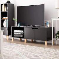 55'' High Gloss TV Stand Media Console Cabinet Organizer w/ 2 Door 2 Shelves