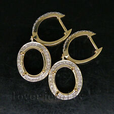 Jewelry Sets Oval 9x11mm 14Kt Yellow Gold Natural Diamond Semi-Mount Earrings