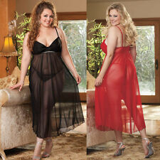 Plus Size Lingerie Sizes 1X 2X Red or Black Long Gown  SOHX25220