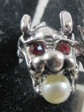 Red Eyed Dragon Ring with Pearl in Mouth - Silver Band Size 9 - New with Tags