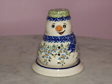 Polish Pottery Snowman Tea Light! UNIKAT Signature Wyspie Pattern!