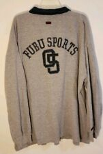 Vintage Fubu Sports Mens Sweater Spellout Gray Button Pullover Longsleeve Large