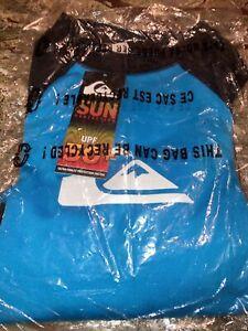 Boys Quiksilver Aqua Blue & Black Long Sleeve Surf Rash Guard Shirt L/14 New