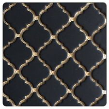 "Fujiwa Porcelain Arabesque Pattern Tile -LT-1022 MATTE BLACK 2"" 1 .08 SQ FT PAC2"