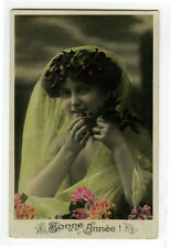 c  1909  Pretty Young Lady CHERRY CHOMPER BEAUTY French tinted photo postcard