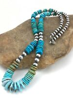 """Navajo Native American Graduated Turquoise Sterling Silver Necklace 24"""" 4768"""