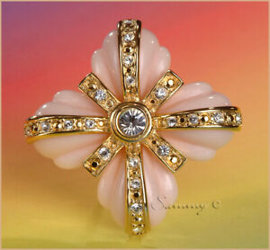 JOAN RIVERS GOLD w 3 CHANGEABLE CORAL w CRYSTAL MALTESE CROSS PIN SET