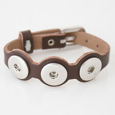 Snap It Adjustable Leather Bracelet Fits Ginger Snap Style Button Charms