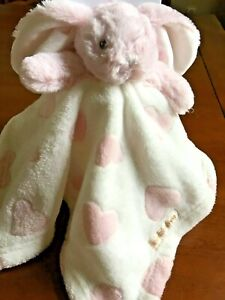 Blankets Beyond Pink Plush Bunny Security Blanket White Velour with Pink Hearts