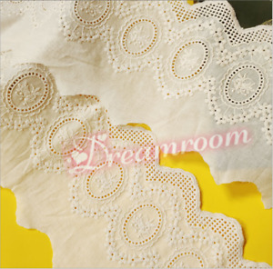 Floral Embroidery Cotton Lace Trims Ribbon Wedding Fabric Sewing Decor DIY BF303