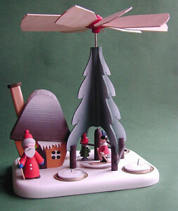 Erzg.Weihnachtspyramide,Teelicht,Räucherhaus,Winterkinder,Ruprecht,GläßerSeiffen