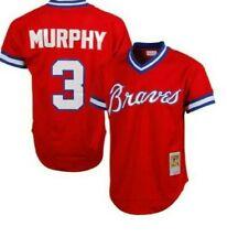 Authentic Mitchell & Ness Atlanta Braves #3 Baseball Jersey New Mens $90