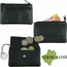 Full Grain Cowhide Leather Coin Key Money Pouch Wallet Zipped Ring Buttoned