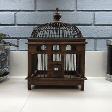 Vintage Bird Cage Victorian Dome Wood & Wire Hand Crafted w/ Pullout Tray
