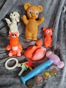 Vintage retro baby toy collection rattles rubber  dog rabbit teddy bear Swan etc