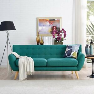 Mid-Century Modern Tufted Teal Upholstered Fabric Living Room Sofa Couch