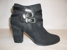 Reba Size 9 M ZANIA Black Leather Ankle Heel Boots New Womens Shoes NWOB