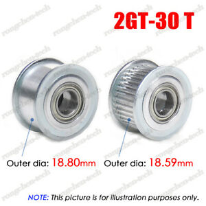 2GT 30T Idler Timing Pulley 3/4/5/6mm Bore W/Ball Bearing for 6/10mm Wide Belt