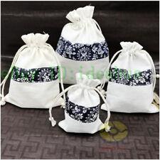 "12PCS Cotton Linen White with Black Stripes Jewelry Drawstring Bag Pouches5.5x4"""