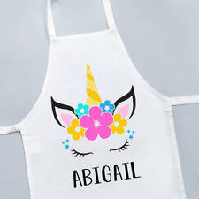 Personalised Unicorn Head Floral Flower Hair Cute Girls Kids Childrens Apron