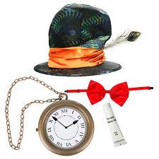 4pc PAZZO Cappellaio Costume W / Hat, OROLOGIO COLLANA LACCIO ETC GIORNATA MONDIALE DEL LIBRO