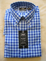 NEW BERKLEY JENSEN BUTTONDOWN COLLAR DRESS SHIRT-BLUE CHECK GINGHAM  15.5 33/34