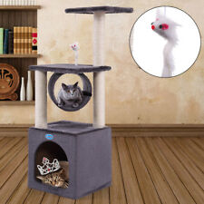 "Deluxe 36"" Cat Tree Condo Furniture Play Toy Kitten Pet House Scratching Grey"