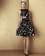 $3K Oscar de la Renta Square Cutout Patterned Dress, Black/White silk sz 12 L