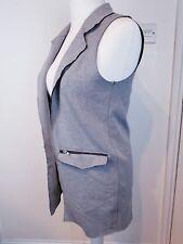 TOPSHOP Grey Raw Edge Open Front Longline Sleeveless Jacket Size UK 10 W Pockets