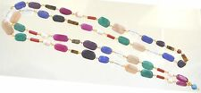 Gem Necklace 22K Gold Plate 35 inch Long Multicolor Pearl Red Green Turquoise