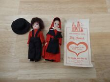 Vintage Lot of 2 Amish Dolls, male female w/ info sheet. souvenir dress me dolls