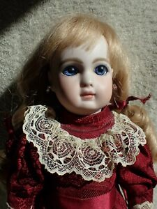 """Lovely Bisque Head Reproduction French Steiner Antique Doll 15"""" Carol Boyd 1977"""
