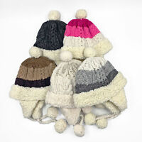 CABLE KNIT ALPACA WOOL BEANIES CHULLO POM POM HATS UNISEX - 20pcs WHOLESALE LOT