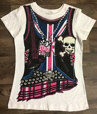 GIRLS ROCK BACK STAGE PASS HALLOWEEN T SHIRT TOP SIZE M 8-10 NEW