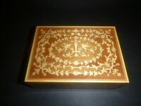 Vintage inlay Marquetry Jewelry or Cigarette Music  Box Birds Sorrento Italy