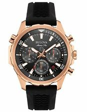 Bulova Men's 97B153 Marine Star Chronograph Black Rubber Strap Watch