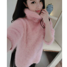 100%  Knitted mink cashmere sweater women fashion knitted warm pullover jacket