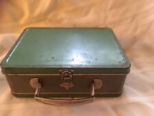 "Vintage Antique Metal Lunchbox Green Grey, Rectangular Handle 6""x 3.25""x8.5"""