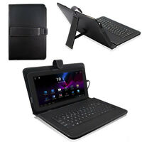 """10.1""""Android Tablet PC Leather Case Cover USB Keyboard folios kickstand case"""