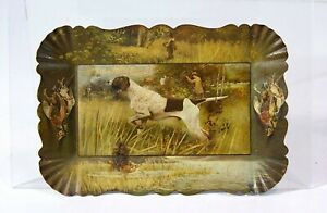 ca1905 TIN LITHOGRAPH ADVERTISING TIP TRAY WITH HUNTING DOG IMAGE - POINTER