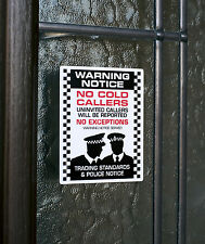 SKU002 - No Cold Callers - Front Door Letter Box Sign / Sticker - 60mm x 75mm