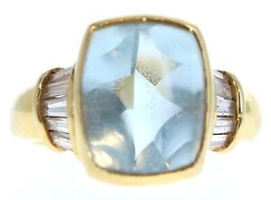 18K Yellow Gold Natural Aquamarine & Diamond Ring 7.88ctw