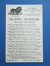 The End of Hitler WW2 Song Postcard
