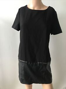 New Look Size 10 Black Mini Dress With Faux Leather Panel Hem