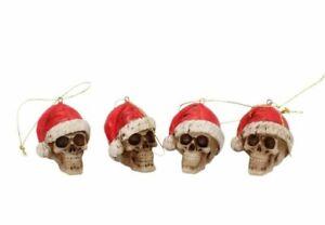 Silent Night Gothic Skull Christmas Tree Bauble (4.3cm) Set Of 4