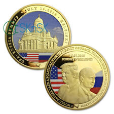 U.S. Russia Donald Trump Vladimir Putin Summit Helsinki 2018 Gold Plated Coin