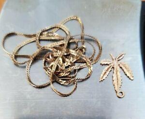 14k Solid Gold pendant & broken chain 3.2 Grams scrap