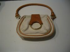 VINTAGE AUTHENTIC BRIC'S TEXTURED IVORY/CAMEL  LEATHER  SMALL LADIES HAND BAG