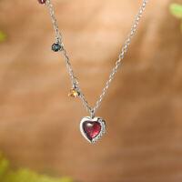 Real 925 Sterling Silver Tourmaline Gemstones Romantic Love Heart Women Necklace