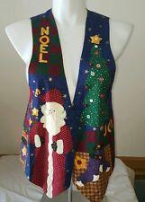 Ugly Christmas Vest Tacky Santa Snowmen Noel Holiday Winter Handmade Free Ship